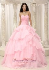Baby Pink Ruches Hand Flowers Sweetheart Quinceanera Dress