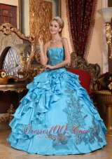 Aqua Blue Quinceanera Dress Appliques Ruffles Floor-length