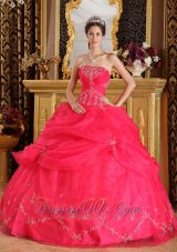 Coral Red Appliques Strapless Sweet 16 Dress Designer