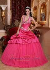 Hot Pink Appliques Beading Floor-length Quinceanera Dress