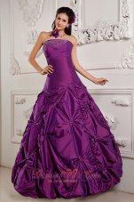Eggplant Purple Beading Embroidery Sweet 16 Dress Taffeta