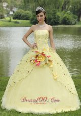 Light Yellow Hand Made Flowers Embroidery Quinceanera Dress