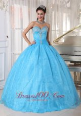 Baby Blue Sweetheart Appliques Sweet 16 Dress