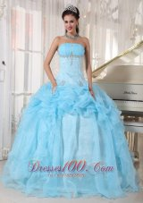 Baby Blue Strapless Ball Gown Bead Quinceanea Dress