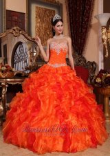 Discount Orange Quinceanera Dress Appliques Beading Ruffles
