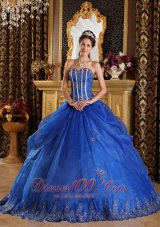Royal Blue Quinceanera Dress Sweetheart Floor-length Appliques