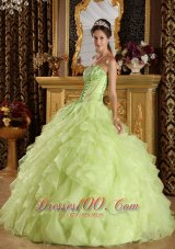 2013 Yellow Green Quinceanera Dress Embroidery Beading Strapless