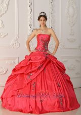 Red Quinceanera Dress Strapless Appliques Beading Embroidery