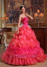 Hot Pink Quinceanera Dress Beading Sweetheart Floor-length