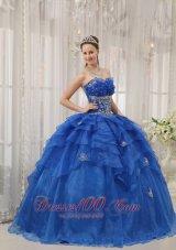 Royal Blue Quinceanera Dress Appliques Beading Organza