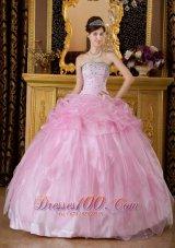 Baby Pink Sweet 16 Dress Beading Organza