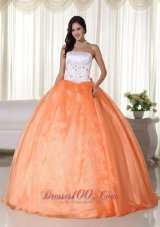 2013 Orange Sweet 15 Dress with Embroidery