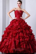Wine Red Sweet16 Dress Beading Ruffles A-Line Sweetheart