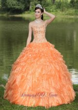 Orange Quinceanera Dress Ruffles Layered Sweetheart