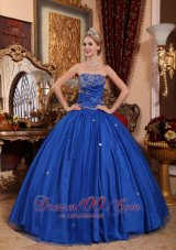 2013 Blue Quinceanera Dress Strapless Taffeta Tulle