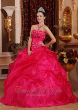Cute Hot Pink Sweet 16 Dress Appliques Beading