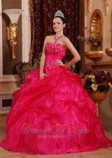 Cute Hot Pink Sweet 16 Dress Appliques Beading