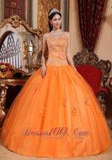 Orange Tulle Quinceanera Dress Appliques Sash