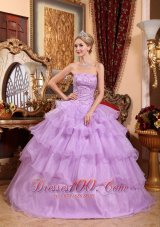 Lavender Sweet 16 Birthday Dress Beading Ruffles Strapless