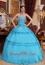 2013 Aqua Blue Quinceanera Dress Appliques Taffeta