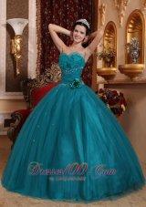Dark Green Bead Handle Flowers Quinceanera Dress Sweetheart
