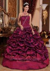 Best Burgundy One Shoulder Quinceanera Dress Pick-ups Taffeta