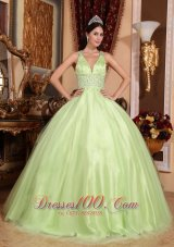 2013 Spring Yellow Green V-neck Beading Quinceanera Dress