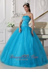 2013 Teal Beading Ruch Strapless Quinceanera Dress
