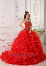 Informal Red Quinceanera Dress Organza Ruffles