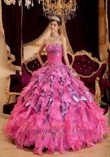 Discount Hot Pink Quinceanera Dress Sweetheart Ruffles