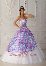 2013 Multi-color A-line Flower Print Quinceaneras Dress