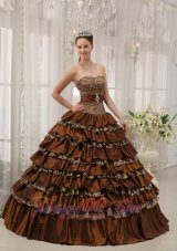 Modest Brown Quinceanera Dress Taffeta Ball Gown
