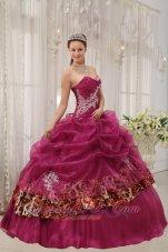 Sweet Sixteen Quinceanera Dresses Burgundy Zebra Decorate