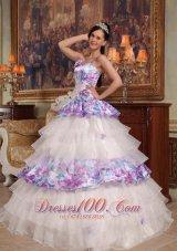 Elegant Quinceanera Dress Straps Floral Organza Printing