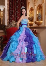 Sweetheart Organza Beading Appliques Quinceanera Dress