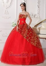 Red Quinceanera Dress Strapless Tulle Beading Ruch