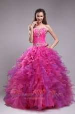 Fuchsia Ball Gown Dress for Quinceanera Beading Sweetheart