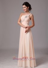 One Shoulder Champagne Beaded Chiffon Prom Gowns