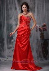 Blood Red Brush Train Taffeta Beading Prom Dress