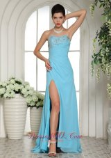 High Slit Beaded Aqua Blue Prom Evening Dress