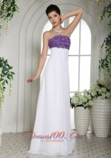 White and Purple Chiffon Beaded Prom Holiday Dress Strapless