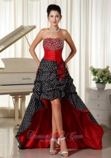 High-low Beaded Red and Black Prom Dress