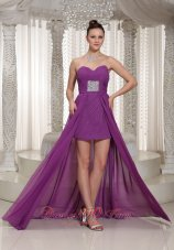 High-low Purple Sweetheart Chiffon Prom Dress Beading