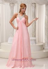 Cross Straps Pink Chiffon Prom Dress For Military Ball