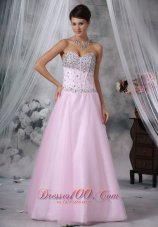 Baby Pink Sweetheart Floor-length Beading Prom Pageant Gowns