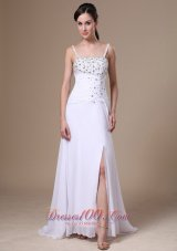 Spaghetti Straps High Slit Beaded Chiffon Prom Pageant Dress