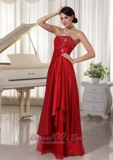 Wine Red Prom Evening Dress Embroidery Taffeta