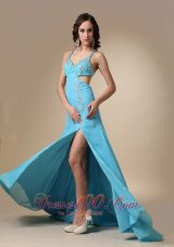 High Slit Aqua Blue Spaghetti Straps Chiffon Prom Dress