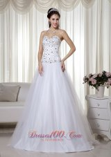 White Sweetheart A-Line Beading Prom Pageant Gown Dress