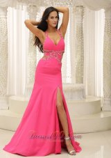 High Slit Halter Halter Beaded Prom Evening Dress